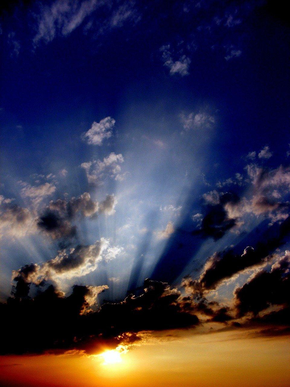 sunset, sun, cloud