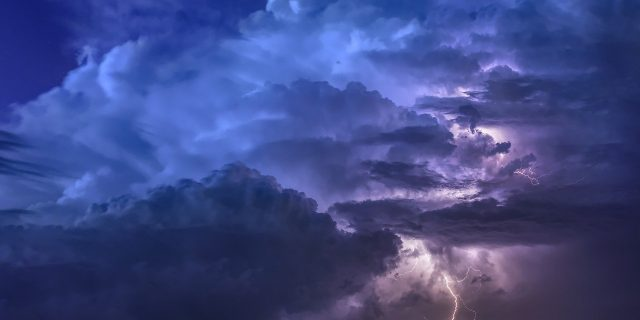thunderstorm, flashes, night
